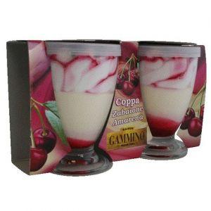 Gammino Crème glacée marbrée cerise, crème sabayon, cerise entière - Les 2 coupe de 90g