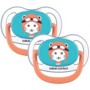 Bébé Confort 2 Sucettes Physio Air Confort Silicone 6/18 - Bleu & Orange - The Travellerthe Traveller