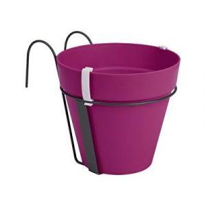 Loft URBAN Pot de fleur balconnière - 27 x 19 x 19 cm - Cerise - Réservoir d'eau - Balustrades jusqu'à 6 cm de large - Charge maximale 5 kg - Recyclables - Résistant au gel