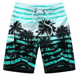 QinMM Shorts de Bain Hommes Trunks Designer Bermuda, Pantalon Court de Sport Cocotier Rayures Impression Séchage Rapide Respirant Lâc Plage Maillot de Bain Natation
