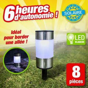 Outiror Bornes solaires 2 en 1 / lot de 8 bornes