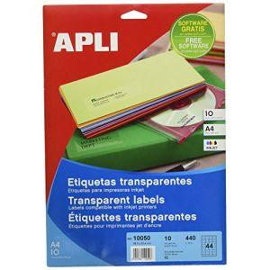 APLI 10050 - 440 étiquettes polyester transparentes, format 48,5 x 25,4 mm (10 feuilles / cdt)