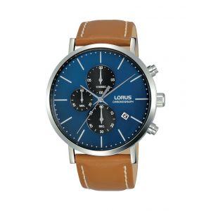Lorus Montre RM325FX9 - Chronographe,Dateur Bracelet Cuir Marron Boîtier Acier Argenté Cadran Bleu Homme