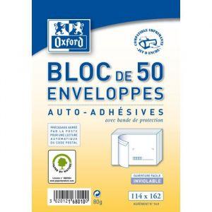Oxford 100101248 - Bloc de 50 enveloppes pré-casées 114x162 (C6) 80g/m², auto-adhésives