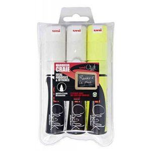 Uni Ball PWE8K/3 ASSF17 - Etui de 3 marqueurs craie Chalk 8K, pointe biseautée 8 mm, coloris assortis