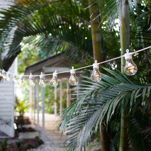 Lights4Fun Guirlande Guinguette Raccordable avec 40 Globes LED Blanc Chaud pour Intérieur/Extérieur sur Câble Blanc