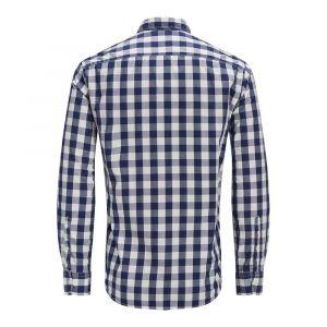 Jack & Jones Chemise slim à carreaux, manches longues Blanc / Bleu Marine - Taille L;M;S;XL