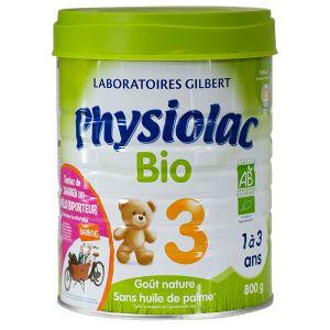 Physiolac Lait Bio croissance 3ème âge 800 g - de 12 à 36 mois