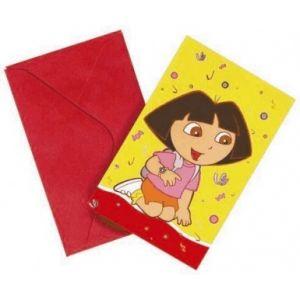 6 cartes d'invitation Dora l'Exploratrice