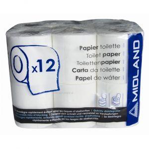 Midland 12 rouleaux de papier toilette pour WC chimique