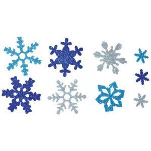 Oz international Sachet de 240 Flocons Neige en mousse pailletées adhésifs 3 couleurs 7 formes 3 tailles - Lot de 2