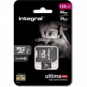 Integral INMSDX128G10-80/25U1 - Carte mémoire 128 Go Class10 (adaptateur microSDXC vers SD)