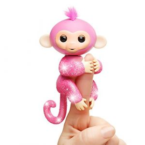 Wow wee Fingerlings Bébé singe ouistiti pailleté rose