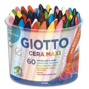 Giotto Pot de 60 craies à la cire maxi - diamètre 11,5mm - coloris assorties