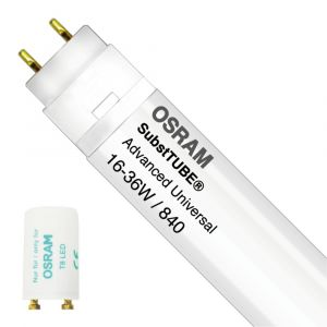 Osram SubstiTUBE Advanced UN 16W 840 120cm | Blanc Froid - Starter LED incl. - Substitut 36W