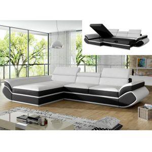 Canapé d'angle convertible en simili ORLEANS Blanc et bandes noires Angle gauc