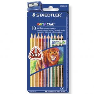 Staedtler 128NC10 - 10 Crayons de couleur Noris Club triplus jumbo