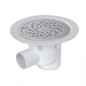 Nicoll SITARALH - Siphon sol plastique avec grille alu sortie horizontale Diam 50