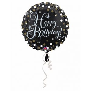 Ballon aluminium Happy Birthday scintillant 43 cm