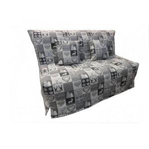 Inside75 Canapé BZ convertible FLO gris motifs cerfs 140*200cm matelas confort BULTEX