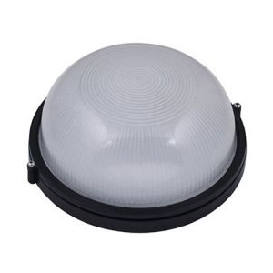 Horoz Electric Hublot rond noir 60W (Eq. 12W FLC - 8W LED) IP54 E27 Diam. 180mm
