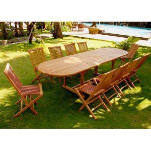 Concept-Usine Kajang - Ensemble table ovale en teck massif avec 10 chaises