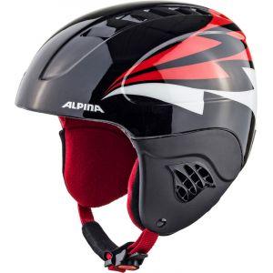 Alpina Carat Casque de Ski enfants Noir/Rouge 51-55 cm