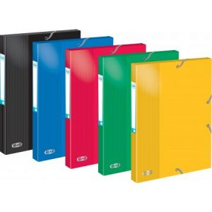 Elba 400010366 - Boîte à élastiques School Life 24x32, en carte pelliculée, dos de 25, coloris assortis (5)