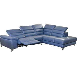 Comforium Canapé d'angle design avec relax électrique et méridienne droite en cuir synthétique bleu