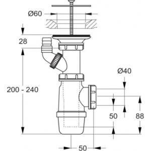 Porcher D5870AA - Bonde à grille pour évier D60mm chromé