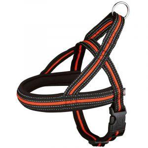 Trixie Fusion comfort harnais - L-XL: 68-88 cm/25 mm, noir/orange