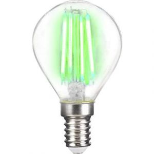 LightMe LED EEC classe A++ (A++ - E) E14 en forme de goutte 4 W vert (Ø x L) 45 mm x 78 mm à filament 1 pc(s)