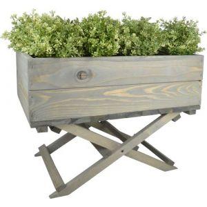 Esschert design Jardinière sur pied pliable en pin