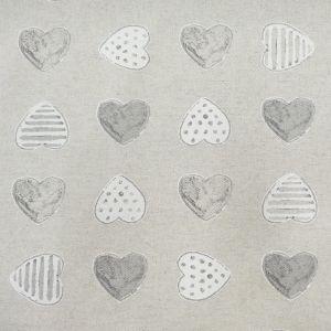 Craftine Tissu Enduit Anti Tâches Coeurs Chamade Gris