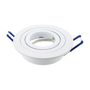 Vision-El Support plafond rond pour spot orientable et clipsable Ø92 Alu blanc