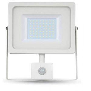 V-TAC Projecteur LED 50W avec Sensor PIR 4250LM 100° corps en aluminium blanc résistant IP44 VT-4955 - SKU 5842 Blanc froid 6400K