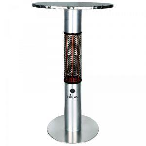 Niklas Chauffage de terrasse TABLE ELIOT 1500W Lampe Infrarouge a carbone 5100 BTU Structure Aluminium