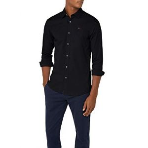 Tommy Jeans Homme Original Stretch Chemise Casual Manches Longues coupe slim Noir (Tommy Black 078) Large