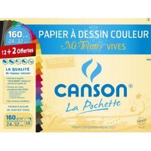 Canson Papier à dessin couleur, mi-teintes vives, 24x32cm - Les 12 feuilles