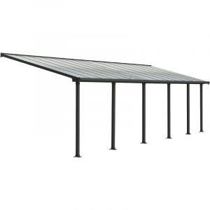 Palram Pergola adossée Olympia 25,5 m² - Aluminium et polycarbonate - Gris