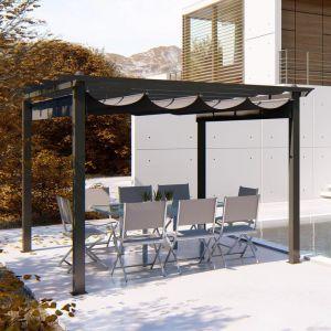 Concept-Usine Pergola Regia autoportante 3x3m structure aluminium et toile polyester grise -