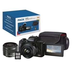 Canon Pack EOS M50 Mark II Noir + EF-M 15-45 mm f/3.5-6.3 IS STM + Etui + Carte SD 16 Go