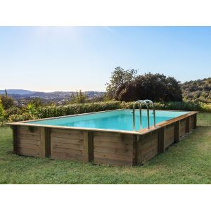 "Habitat et Jardin Piscine bois en kit rectangle ""Kolanta"" - 10.20 x 5.20 x 1.44 m"