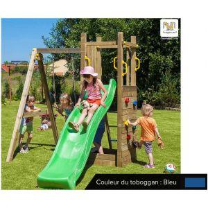 Fungoo Aire de jeux Funny 3 + bac à sable et portique - Toboggan Bleu