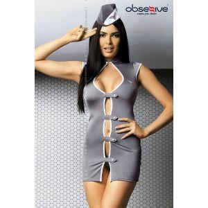 Obsessive Costume d'Hôtesse de l'Air Gris / Blanc XXL (44)