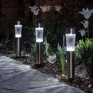 Lights4Fun Lot de 3 Bornes Solaires en Acier INOX LED Blanches à Piquet pour Jardin