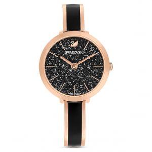 Swarovski Montre Crystalline Delight, bracelet en métal, noir, PVD doré rose Noir