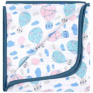 Emma & Noah Emma+Noah couverture pour bébés avex Oeko-Tex, extra douce, 100% coton, 120x120 cm, à 4 couches, ideale comme couverture pour poussette, plaid, doudou, couverture de naissance/d'allaitement