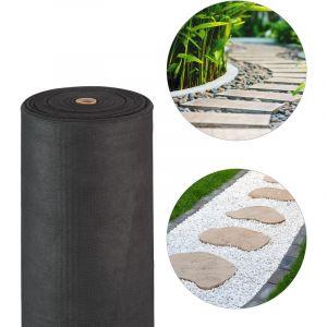 Relaxdays Toile paillage anti-mauvaises herbes 50m Bâche tissée Toile 50g/m² géotextile, Résiste UV, antidéchirure, noir