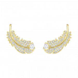 Swarovski Boucles d'oreilles 5505623 - Métal Rhodié Doré Motifs Plumes Cristal Femme